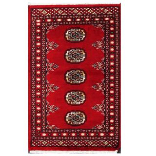 Herat Oriental Pakistani Hand-knotted Tribal Bokhara Red/ Black Wool Rug (2' x 3'1)