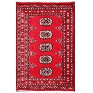 Herat Oriental Pakistani Hand-knotted Tribal Bokhara Red/ Black Wool Rug (2' x 3'1)