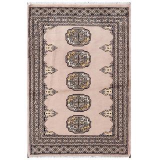 Herat Oriental Pakistani Hand-knotted Tribal Bokhara Lilac/ Black Wool Rug (2'1 x 3'1)