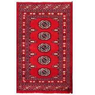 Herat Oriental Pakistani Hand-knotted Tribal Bokhara Red/ Black Wool Rug (2' x 3'4)