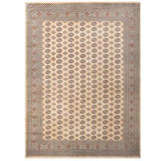 Herat Oriental Pakistani Hand-knotted Tribal Bokhara Beige/ Green Wool Rug (9'1 x 12'2)