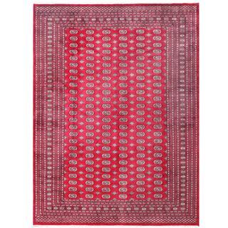 Herat Oriental Pakistani Hand-knotted Tribal Bokhara Red/ Black Wool Rug (8'11 x 11'10)