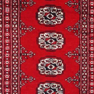 Herat Oriental Pakistani Hand-knotted Tribal Bokhara Red/ Black Wool Rug (2' x 3'3)