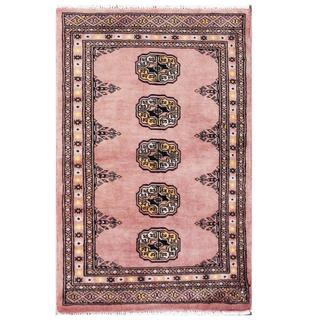 Herat Oriental Pakistani Hand-knotted Tribal Bokhara Pink/ Black Wool Rug (2' x 3'2)