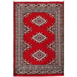 Herat Oriental Pakistani Hand-knotted Tribal Bokhara Red/ Black Wool Rug (2'1 x 3')