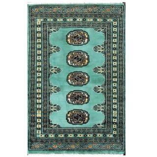 Herat Oriental Pakistani Hand-knotted Tribal Bokhara Green/ Black Wool Rug (2' x 3')