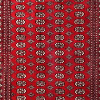 Herat Oriental Pakistani Hand-knotted Tribal Bokhara Red/ Black Wool Rug (6' x 9'1)