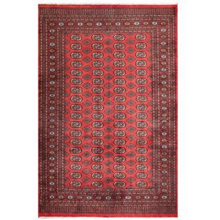 Herat Oriental Pakistani Hand-knotted Tribal Bokhara Red/ Black Wool Rug (6' x 9'1)