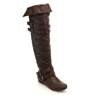 Nature Breeze VICKIE-16HI Double Buckle Over the Knee Thigh High Boots