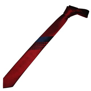 Dmitry Men's Red with Blue Italian Silk Patterned Skinny Tie