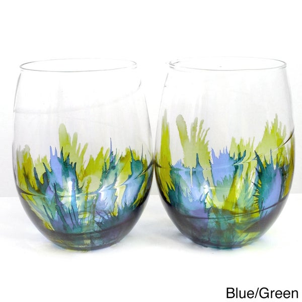 Hand-painted Two-tone Stemless Wine Glass (Set of 4)