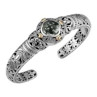 18k Gold and Sterling Silver Prasiolite Floral Cawi Cuff Bracelet (Indonesia)
