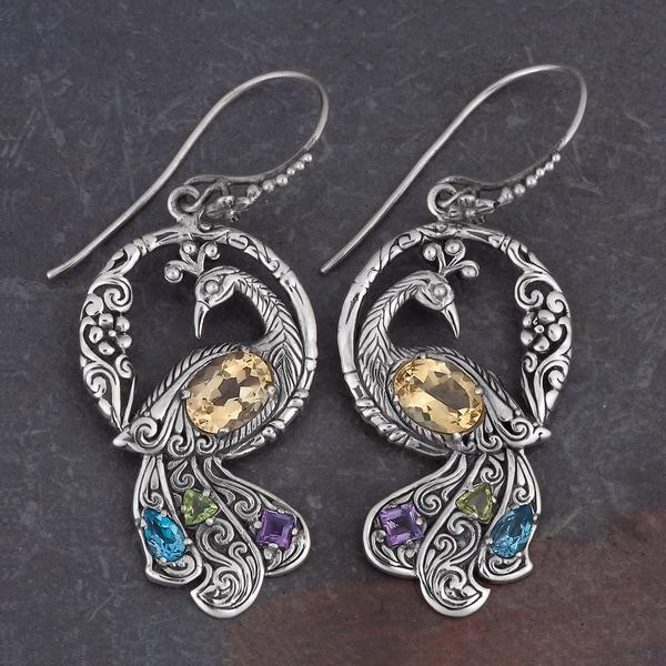 Sterling Silver Citrine Multi-stone 'Dancing Peacock' Earrings (Indonesia)