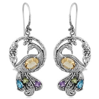 Sterling Silver Citrine Multi-stone 'Dancing Peacock' Earrings (Indonesia)