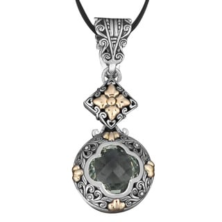 18k Gold and Sterling Silver Green Amethyst 'Nature's Heart' Necklace (Indonesia)