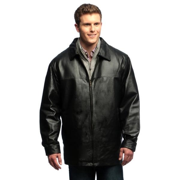 Men's Genuine Leather Zip-front Half Coat with Zip-out Liner