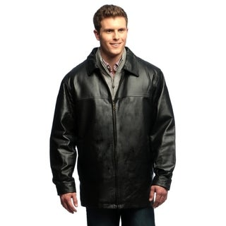 Men's Genuine Leather Button-front Half Coat with Zip-out Liner
