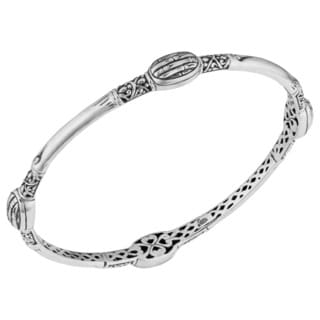 Handmade Sterling Silver 'Bamboo Art' Bangle Bracelet (Indonesia)