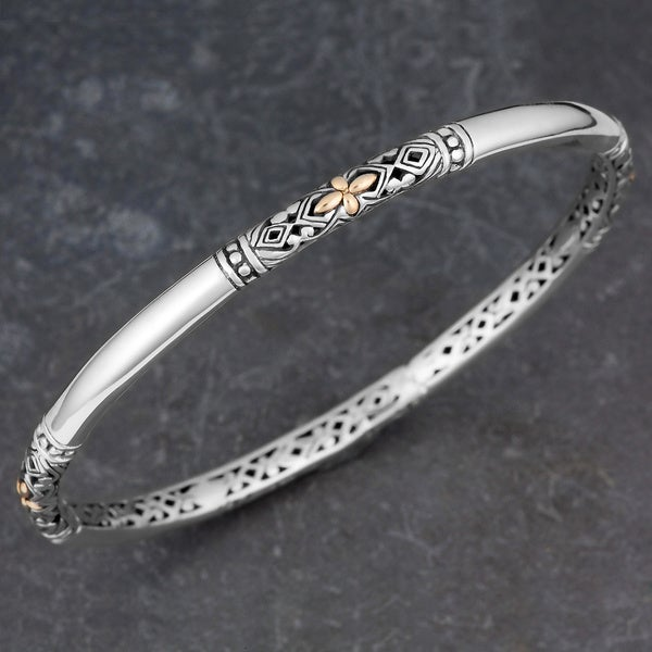 18k Gold and Sterling Silver 'Balinese Flora' Bangle Bracelet (Indonesia)