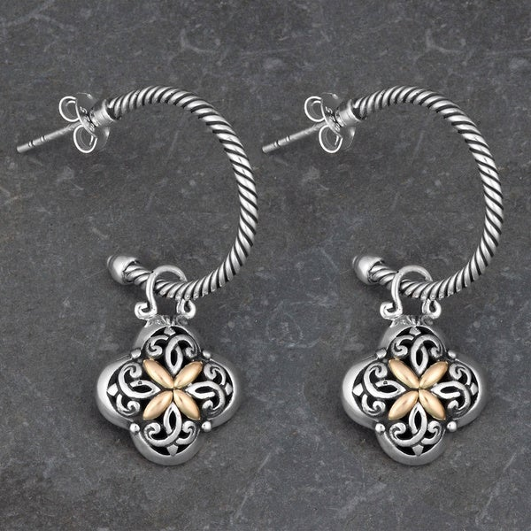 18k Yellow Gold and Sterling Silver 'Balinese Flora' Half Hoop Dangle Earrings (Indonesia)