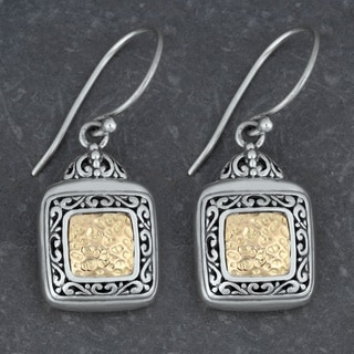 18k Gold and Sterling Silver 'Tropical Garden' Dangle Earrings (Indonesia)