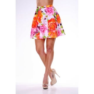White Mark Women's Rose Print Flared Mini Skirt