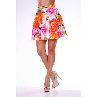 White Mark Women's Rose Print Flared Mini Skirt