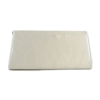 Silver Satin Clutch with Beaded Strap