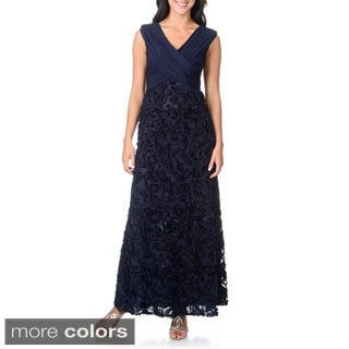 Patra Women's Criss-cross Soutache Navy Evening Gown