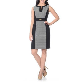 Tahari Arthur S. Levine Women's Novelty Texture Panel Sheath Dress