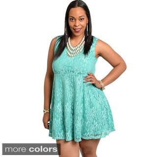 Feellib Women's Plus Floral Lace Sleeveless Short Dress