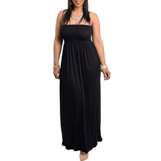 Feellib Women's Plus Strapless Knit Maxi Dress