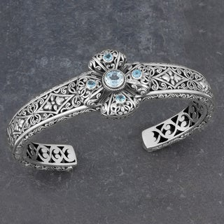 Sterling Silver Blue Topaz 'Glorious Faith' Cuff Bracelet (Indonesia)