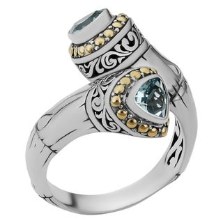 18k Yellow Gold and Sterling Silver Blue Topaz Sea Goddess Ring (Indonesia)