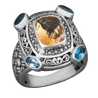 Sterling Silver Citrine and Blue Topaz 'Cawi' Cocktail Ring (Indonesia)
