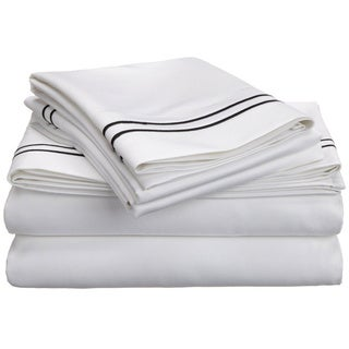 Luxor Treasures Egyptian Cotton 800 Thread Count Two-tone Embroidered Sheet Set