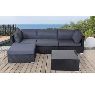 SANO Outdoor Lounge Black Wicker Sectional Set