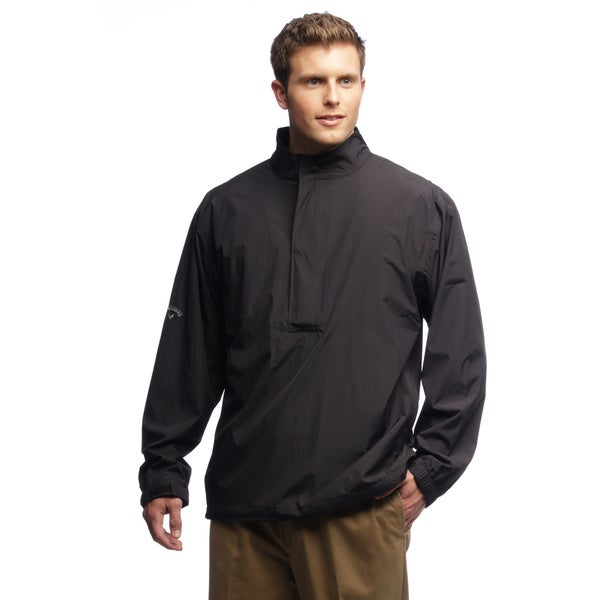 Callaway Men's Top Spin 1/2-zip Rain Proof Black Pullover