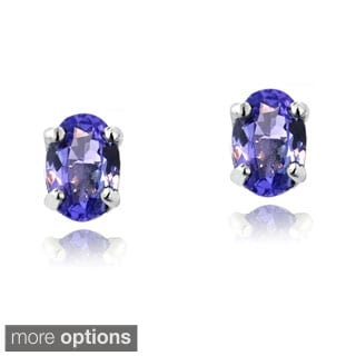Glitzy Rocks 14k White or Yellow Gold 3/5ct TGW Tanzanite Oval Stud Earrings