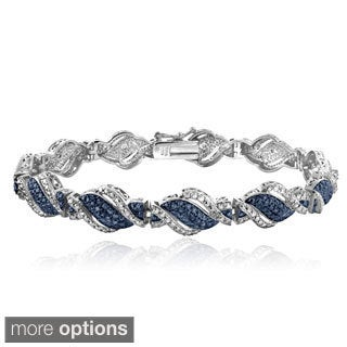 DB Designs Silvertone 1/4ct TDW Black or Blue and White Diamond Twist Bracelet (I-J, I2-I3)