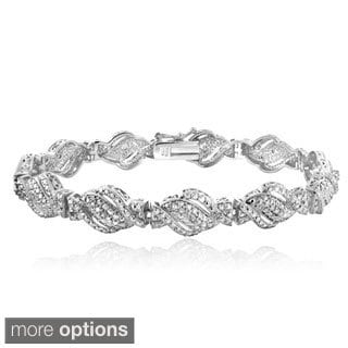 DB Design Silvertone or Goldtone 1/4ct TDW Diamond Twist Bracelet (I-J, I2-I3)