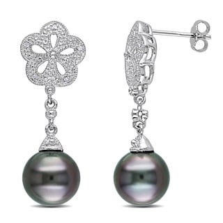 Miadora Sterling Silver Tahitian Pearl and Diamond Earrings (9.5-10 mm)
