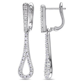 Miadora 10k White Gold 1/5ct TDW Diamond Dangle Earrings (H-I, I2-I3)