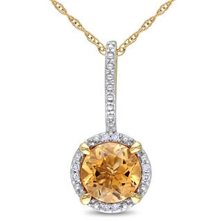 Miadora 10k Yellow Gold 1 1/4ct TGW Citrine and Diamond Accent Halo Necklace