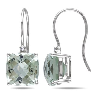 Miadora 10k White Gold 8ct TGW Green Amethyst and Diamond Dangle Earrings