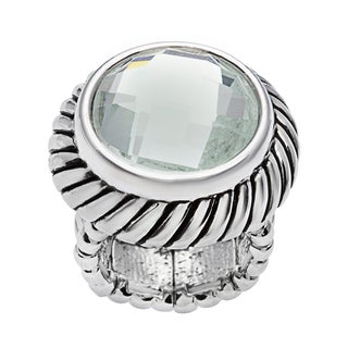 Silvertone Base Metal Faceted Clear Stretch Ring