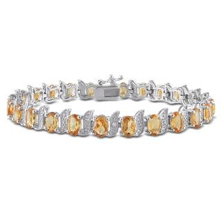 Miadora Sterling Silver 10 4/5ct TGW Citrine and Diamond Accent Bracelet