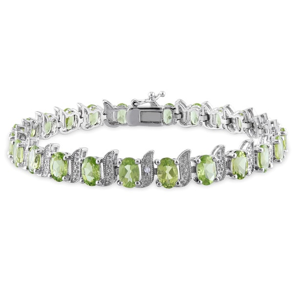 Miadora Sterling Silver 11 3/4ct TGW Peridot and Diamond Bracelet 13097030