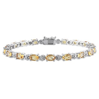 Miadora Sterling Silver 8 1/10ct TGW Citrine and Diamond Accent Bracelet