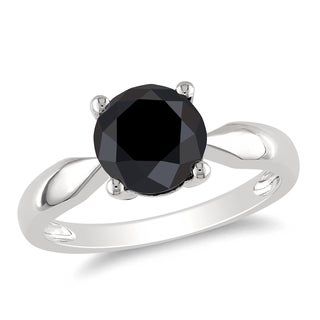 Miadora 10k White Gold 2 1/2ct TDW Black Diamond Solitaire Ring